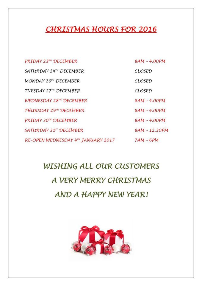 Christmas 2016 Opening Times